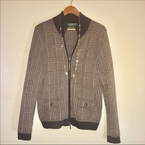 Ralph Lauren Houndstooth Full-Zip Cardigan Sweater